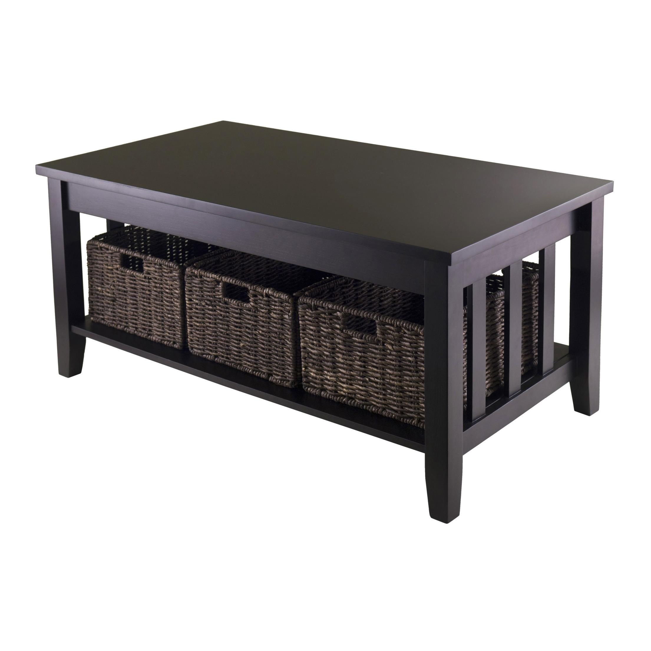 Amazon Winsome Morris Coffee Table with 3 Foldable Basket