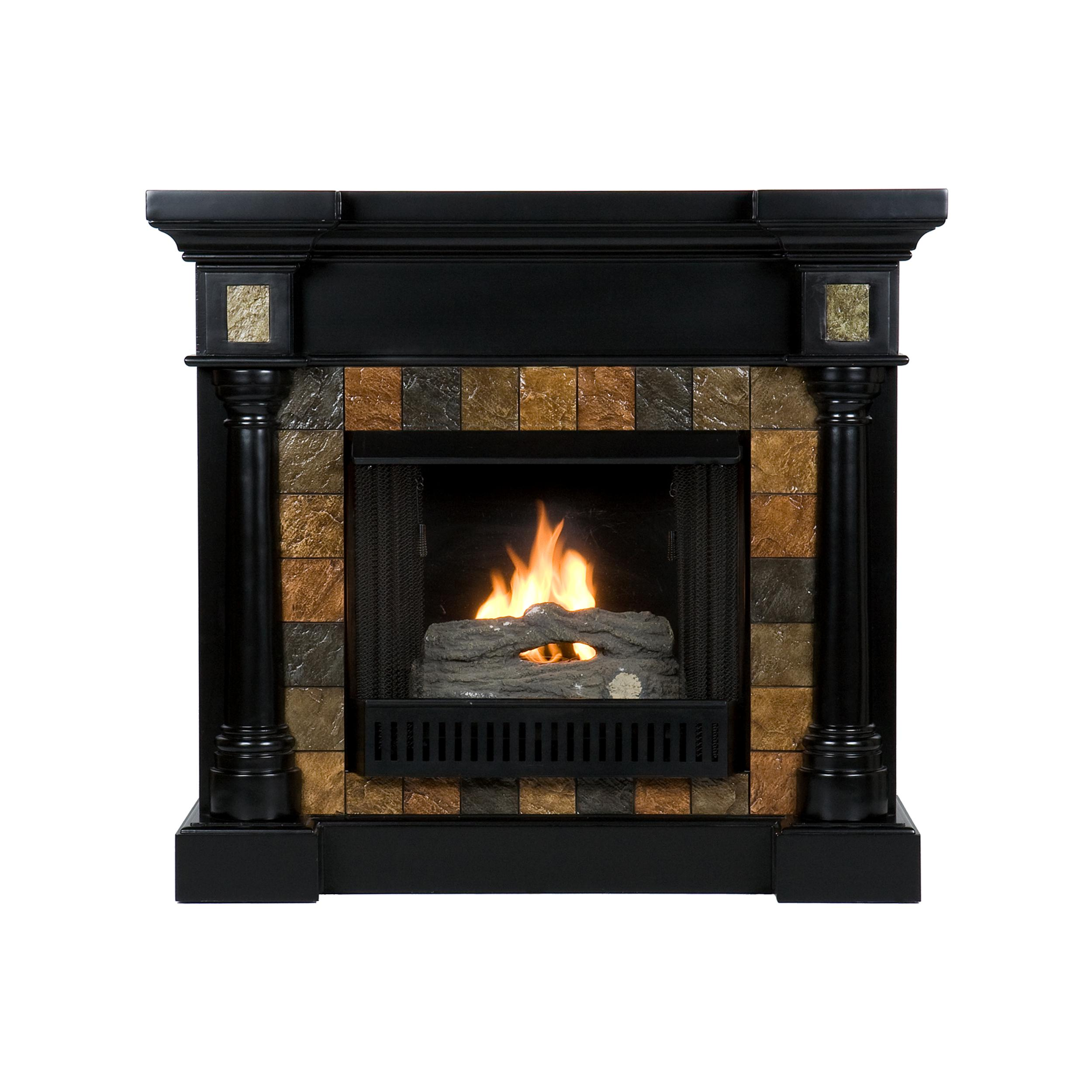 southern enterprises sei carrington convertible gel fuel fireplace slate black. Black Bedroom Furniture Sets. Home Design Ideas