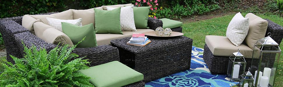 Patio Furniture, Outdoor Furniture, Sunbrella, Williams, Sectional, Outdoor  Sectional, Green