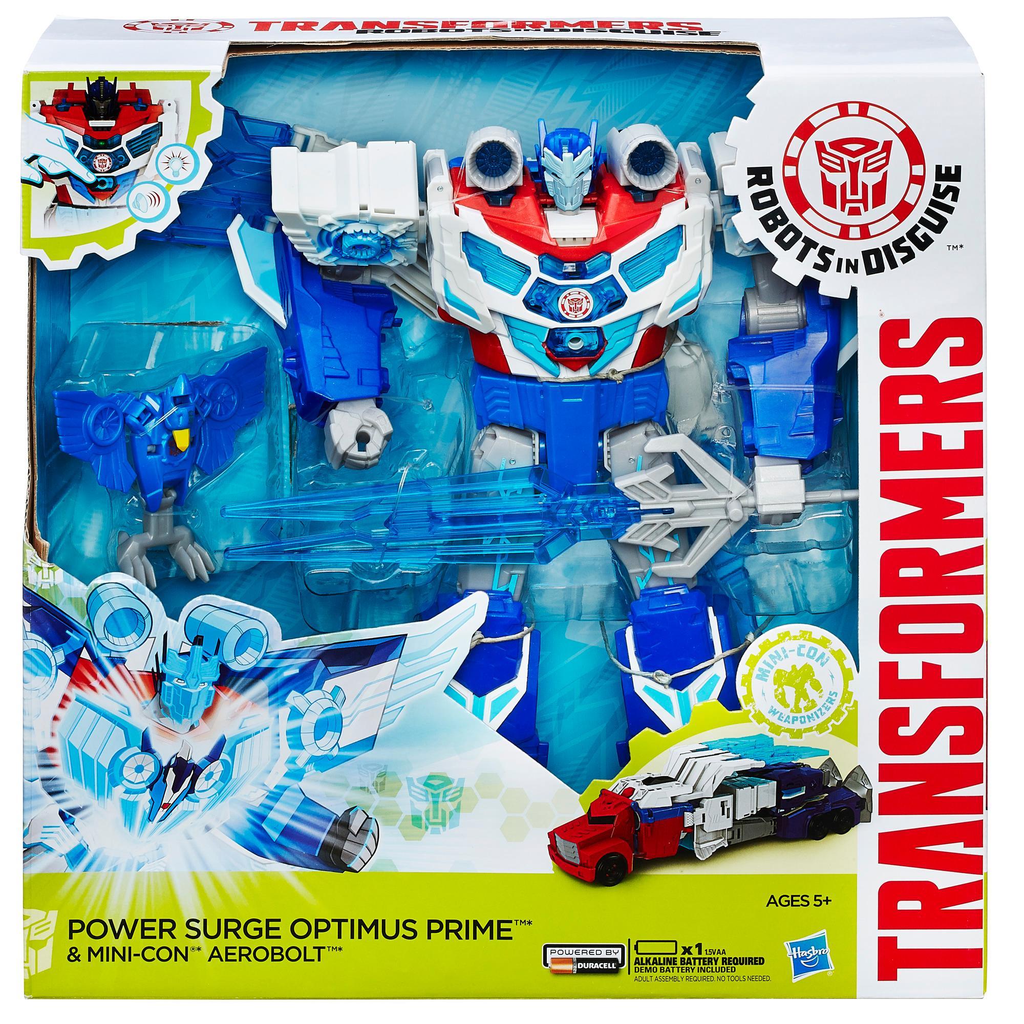 Includes Power Surge Optimus Prime figure, Mini-Con Weaponizers