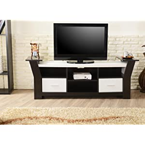 Enitial Lab Torena Multi-Storage TV Stand, Black & White
