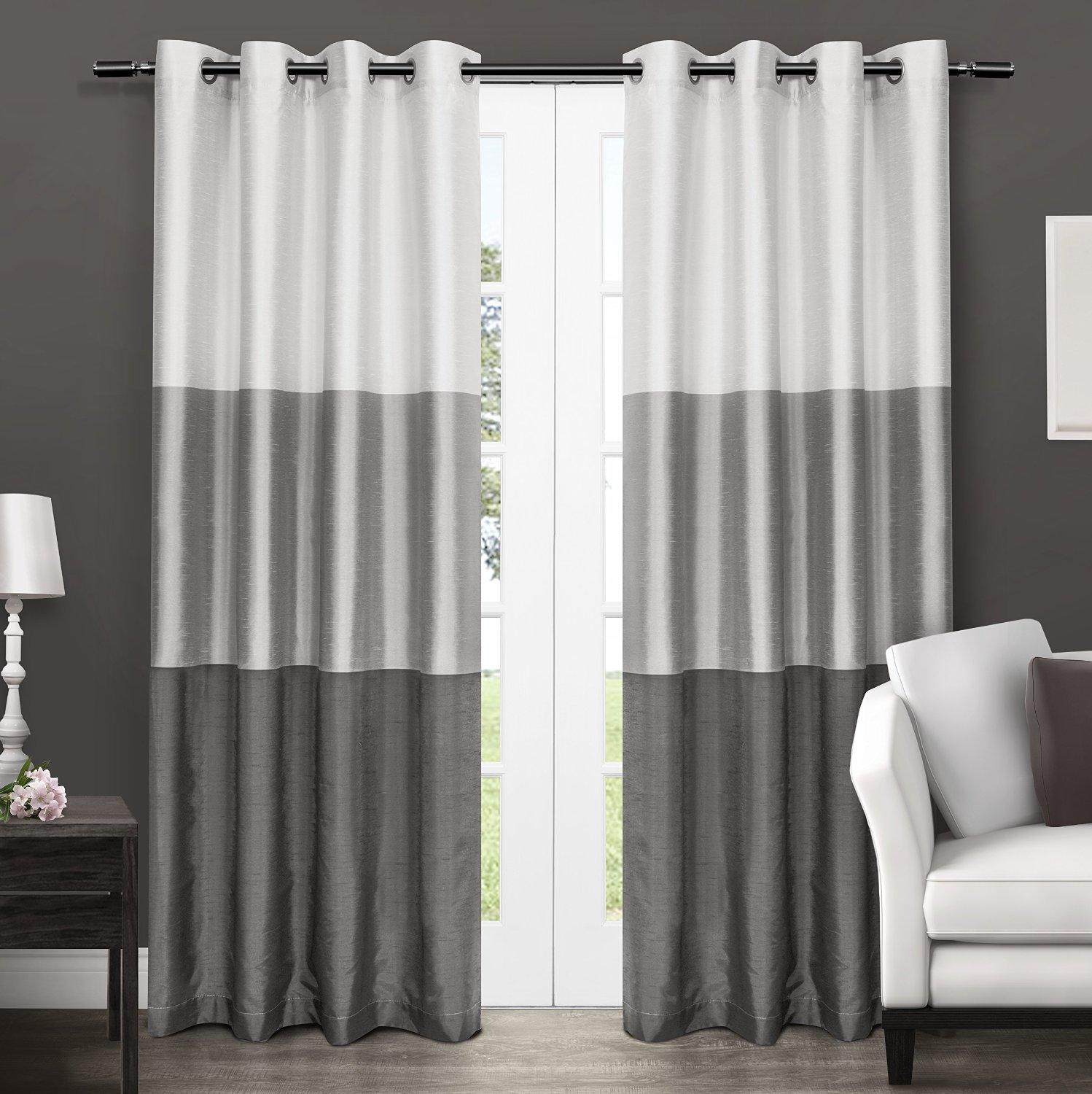 Exclusive home chateau striped faux silk - Ideas para cortinas de salon ...