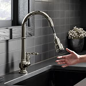 Kohler K 99259 Cp Artifacts Single Hole Kitchen Sink Faucet With 17 5 8 Inch Pull Down Spout 3