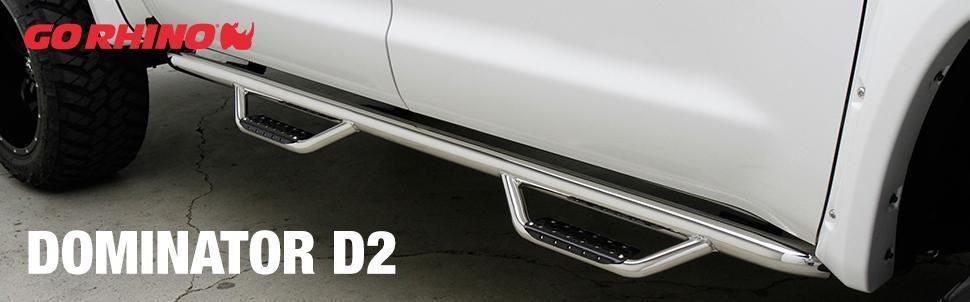 Go Rhino D44047T Black Textured Dominator D4 Length SideStep for Chevrolet//GMC Crew Cab Pair