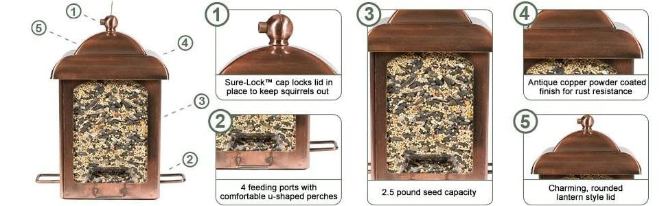 Perky-Pet Antique Copper Lantern Feeder