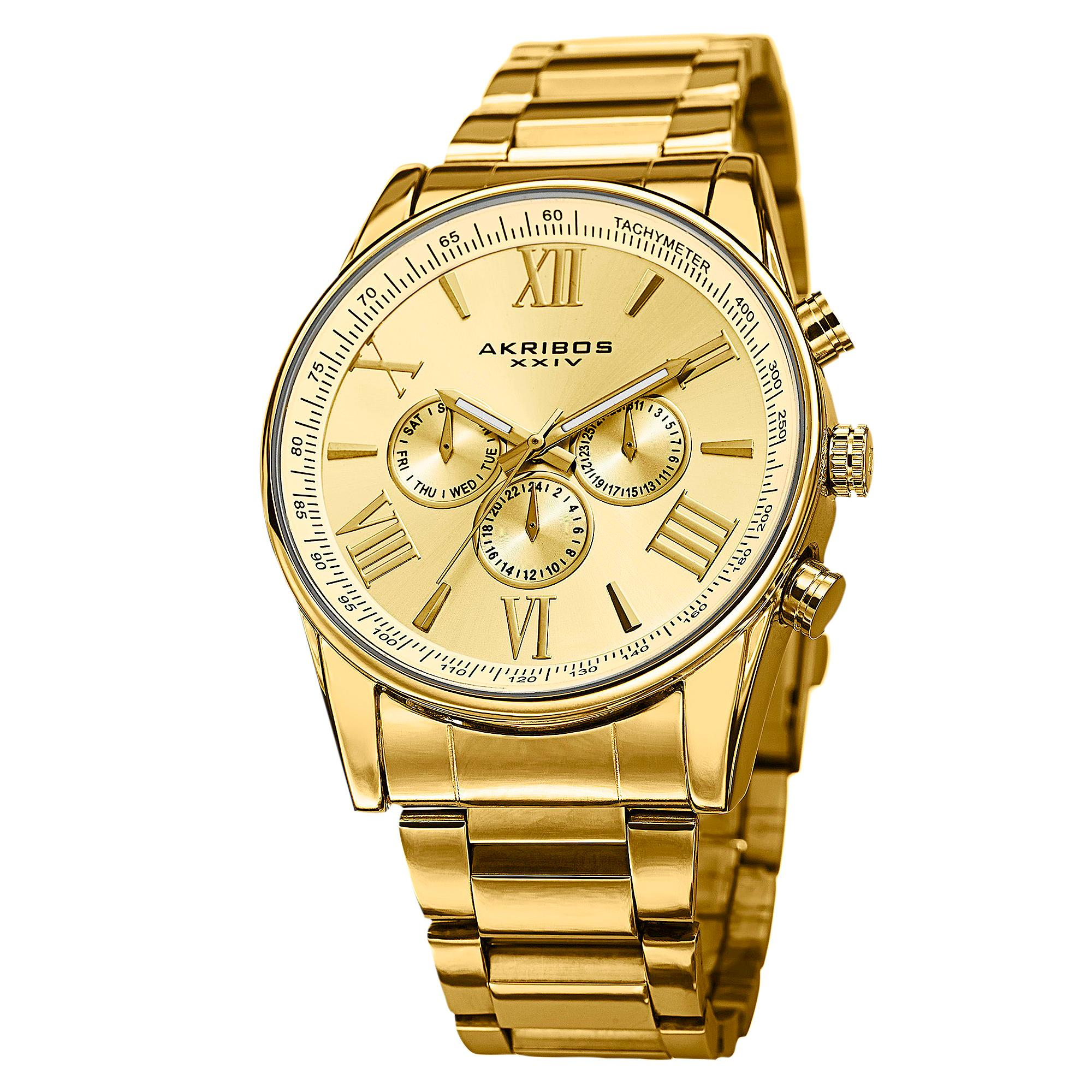 Akribos xxiv men 39 s ak736yg ultimate swiss multifunction gold tone stainless steel for Watches gold