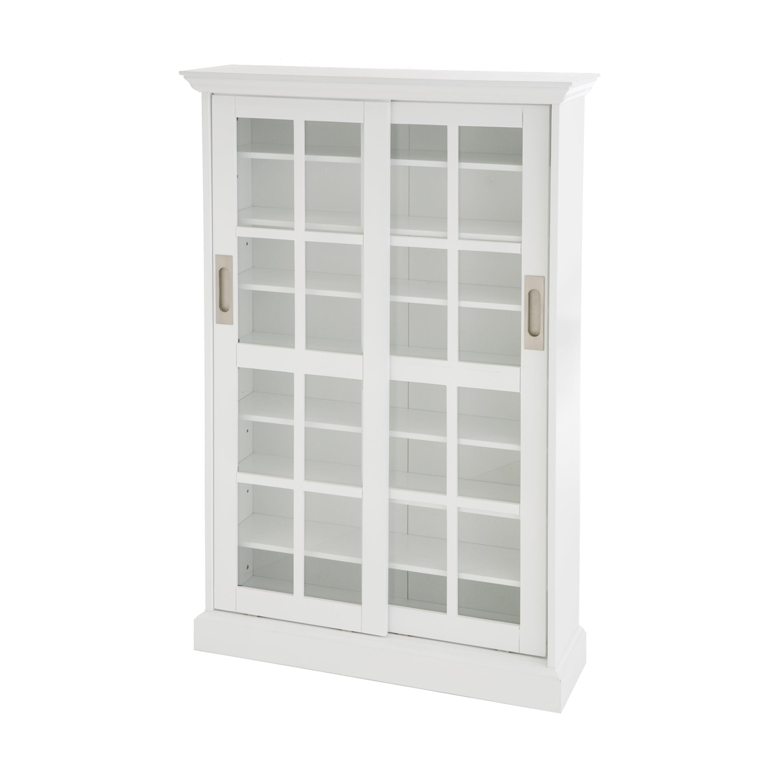 Amazon.com: Sliding Door Media Cabinet - White: Kitchen & Dining