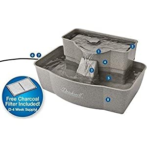 petsafe pet safe drinkwell drink well muti-tier pet fountain water filtered plastic bowl clean
