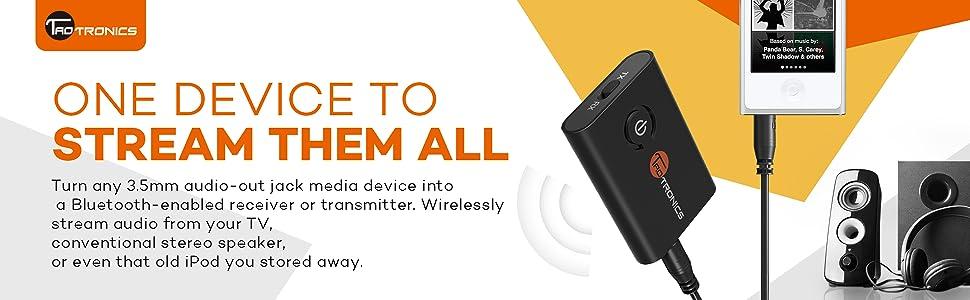 bluetooth transmitter TaoTronics wireless tv ear aptX Low Latency 2-in-1 converter broadcaster