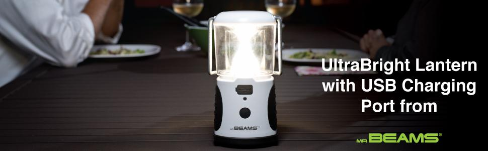 mr beams ultrabright lantern, led camping lantern, lantern with usb charging port