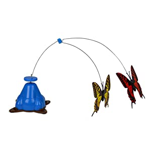 spinning cat toy, interactive cat toy, butterflies, fluttering, electronic cat toy