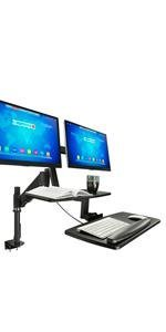 MI-7902 Dual Monitor Sit Stand Desk Mount with Gas Spring Arm