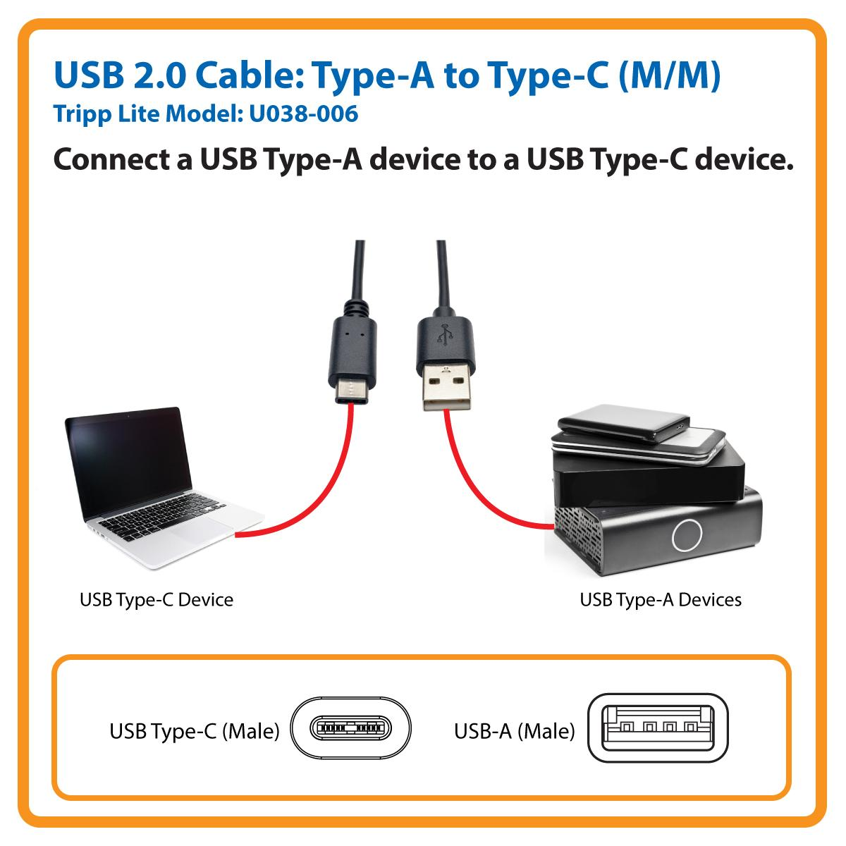 tripp lite usb 2 0 hi speed cable a male to usb type c male 6 39 u038 006 computers. Black Bedroom Furniture Sets. Home Design Ideas
