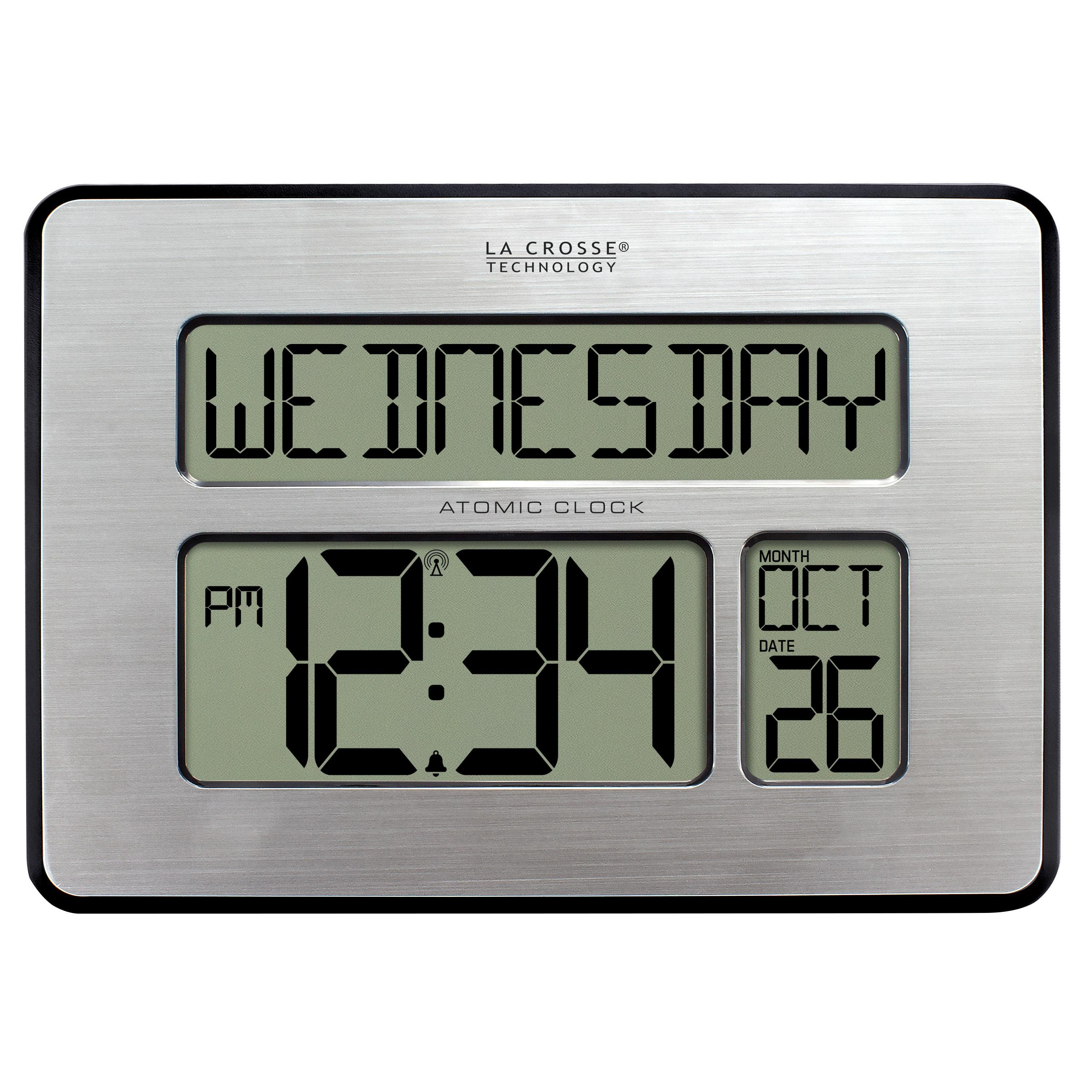 La crosse technology 513 1419 int atomic full calendar clock with extra large digits - Extra large digital wall clock ...