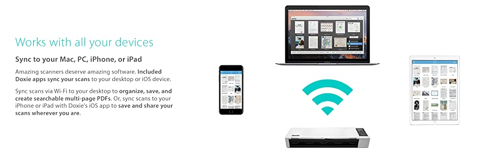 Doxie works with all your devices with amazing software. Sync wirelessly to Mac, PC, iPhone, & iPad.