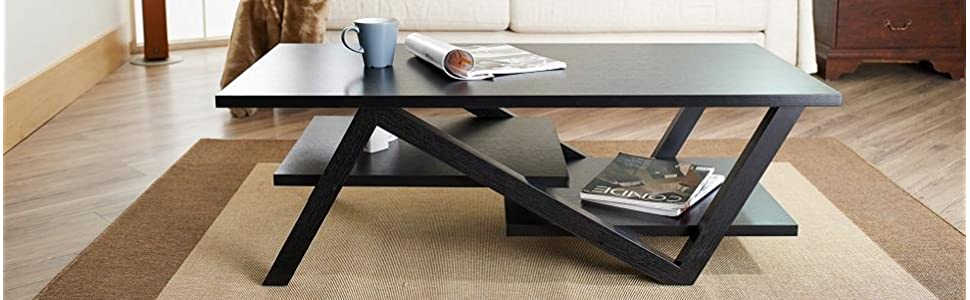 Amazoncom ioHOMES Finley Rectangular Coffee Table Black