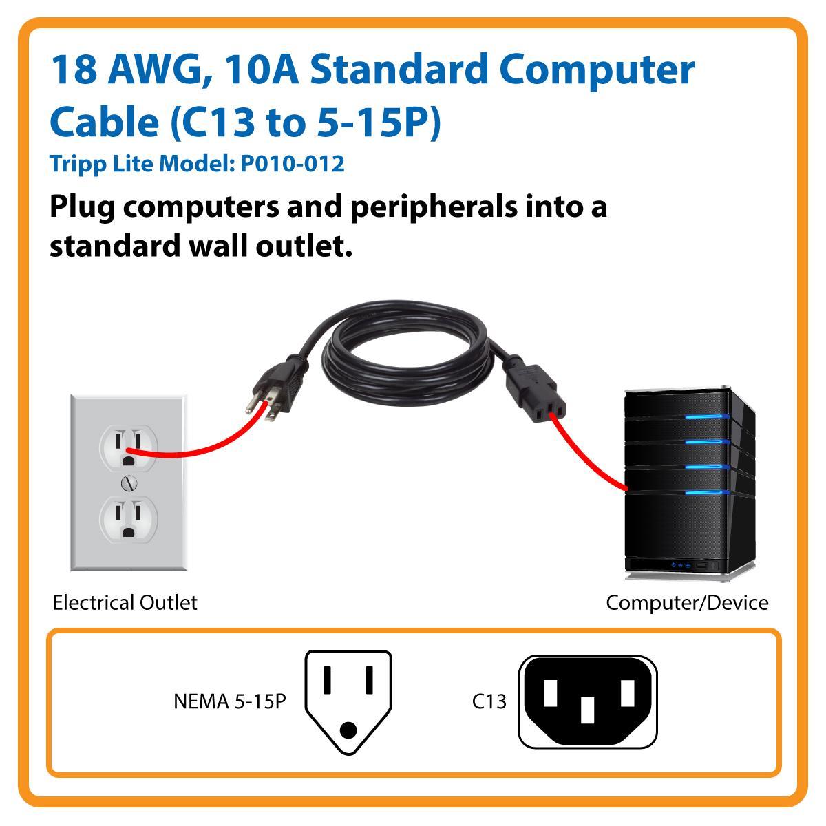 Amazon Com Tripp Lite Computer Power Cord 10a 18awg