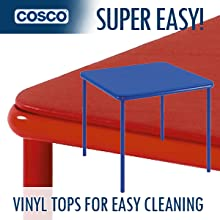 Vinyl Top Kids Table In Blue And Red