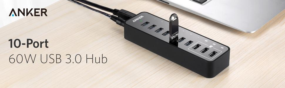 Anker 10-Port 60W USB 3.0 Hub with 7 Data Transfer Ports ...