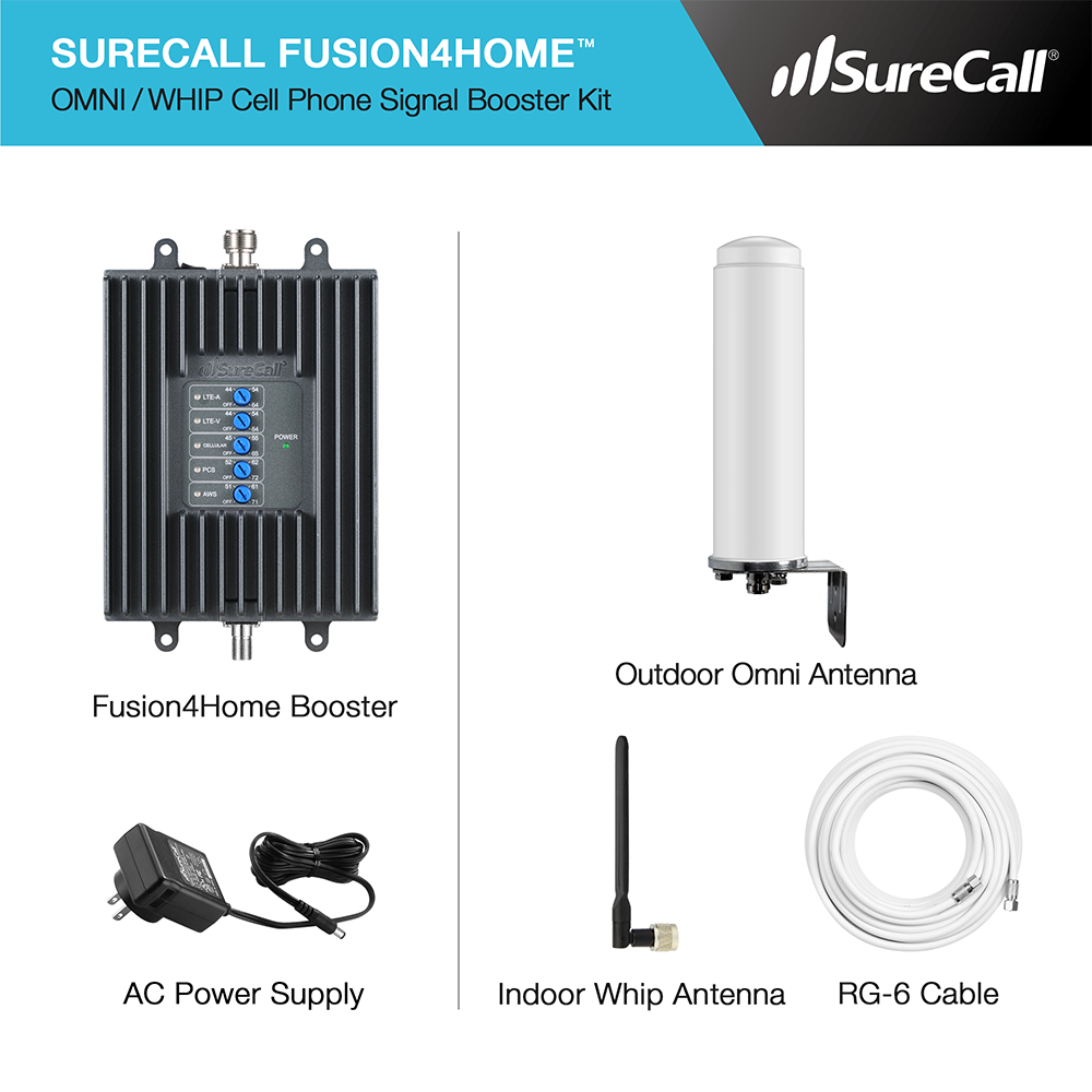 surecall fusion4home omni whip cell phone signal booster kit for all carriers 3g 4g. Black Bedroom Furniture Sets. Home Design Ideas