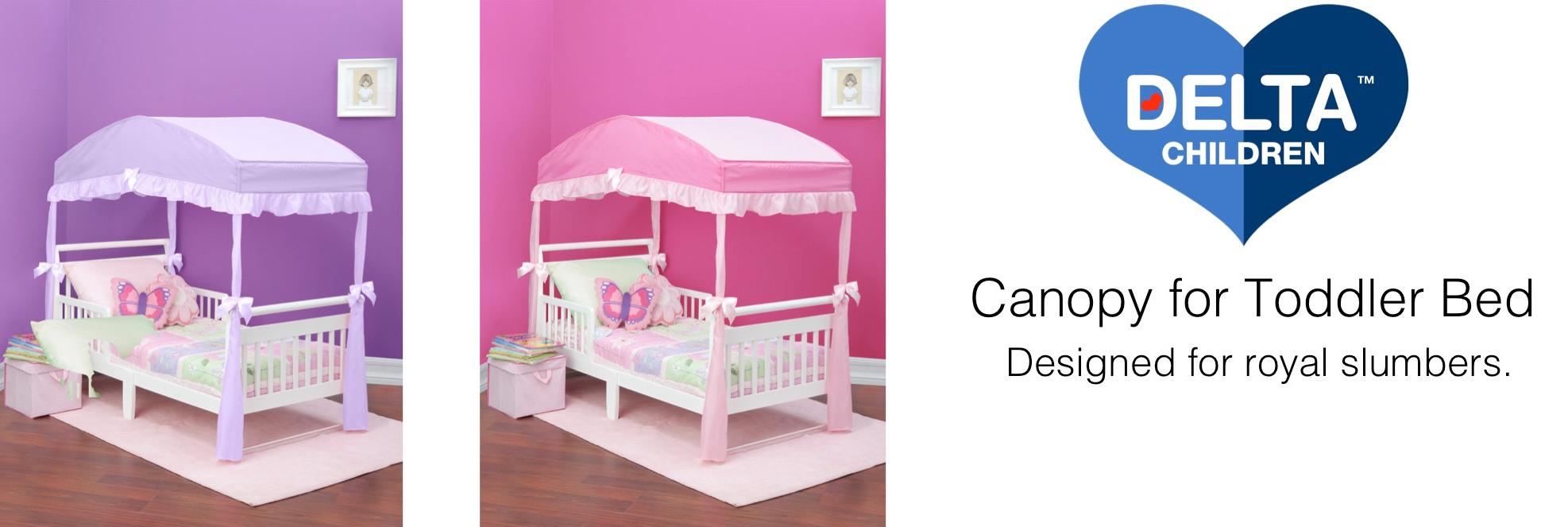 canopy toddler bed decor girls bedroom princess purple  sc 1 st  Amazon.com & Amazon.com : Delta Children Girls Canopy for Toddler Bed Pink ...