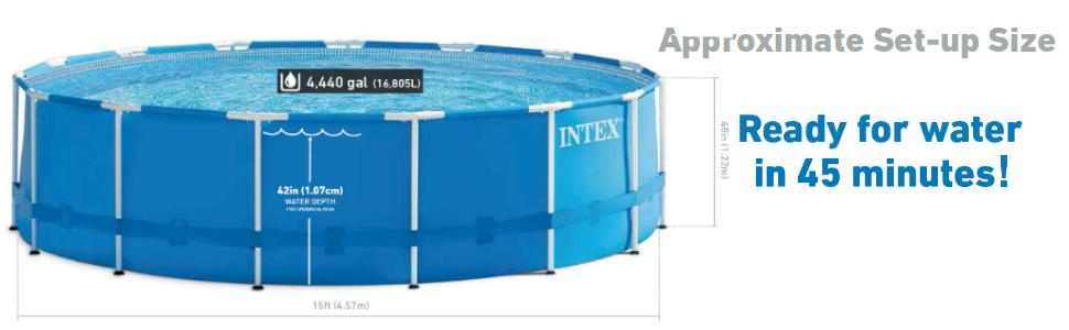 Amazon Com Intex 15ft X 48in Metal Frame Pool Set With