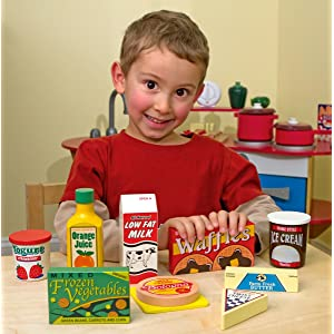 Melissa doug fridge food wooden play food for Best kitchen set for 4 year old