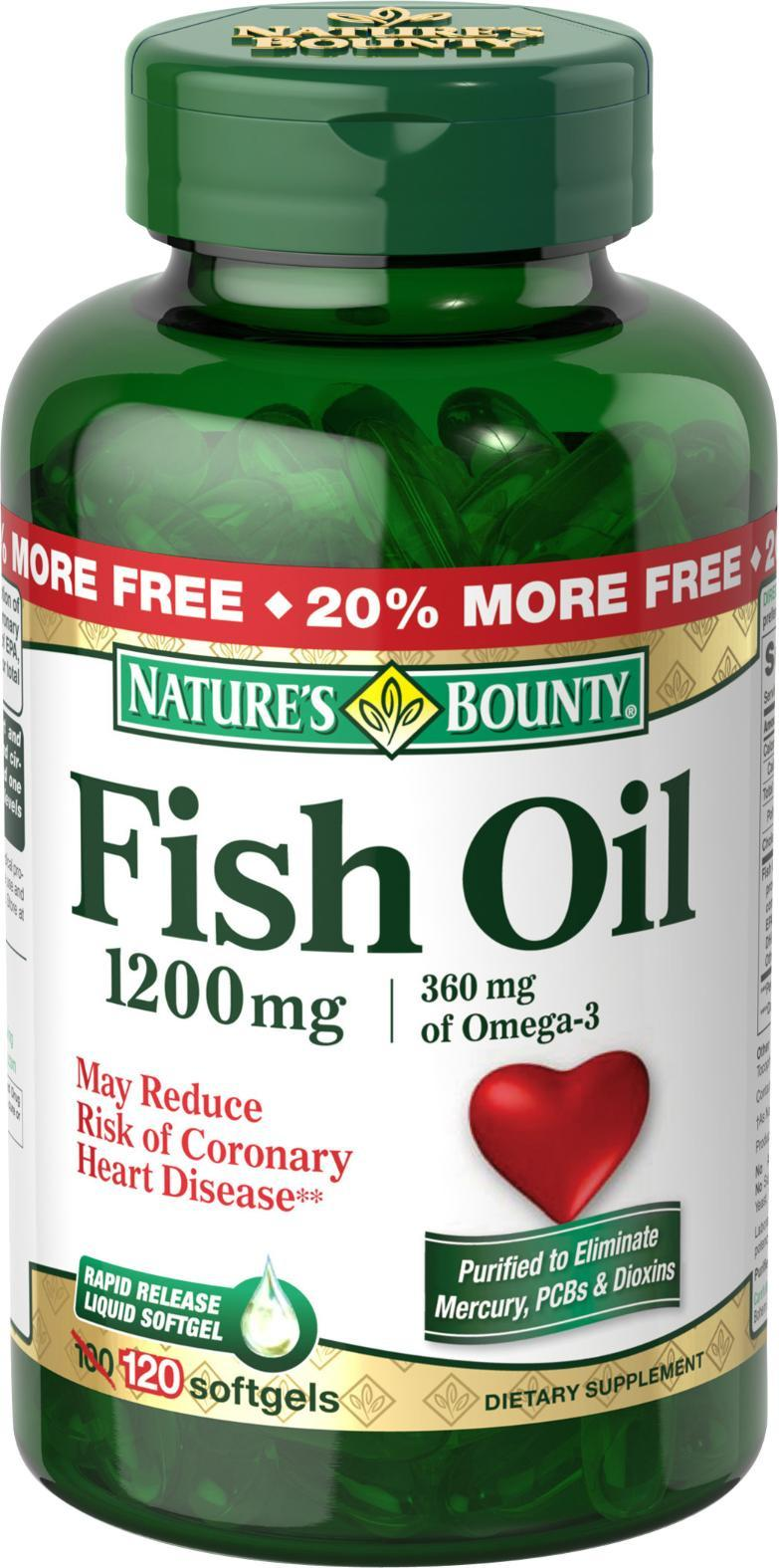 Nature 39 s bounty fish oil 1200mg 120 softgels for Nature s bounty fish oil
