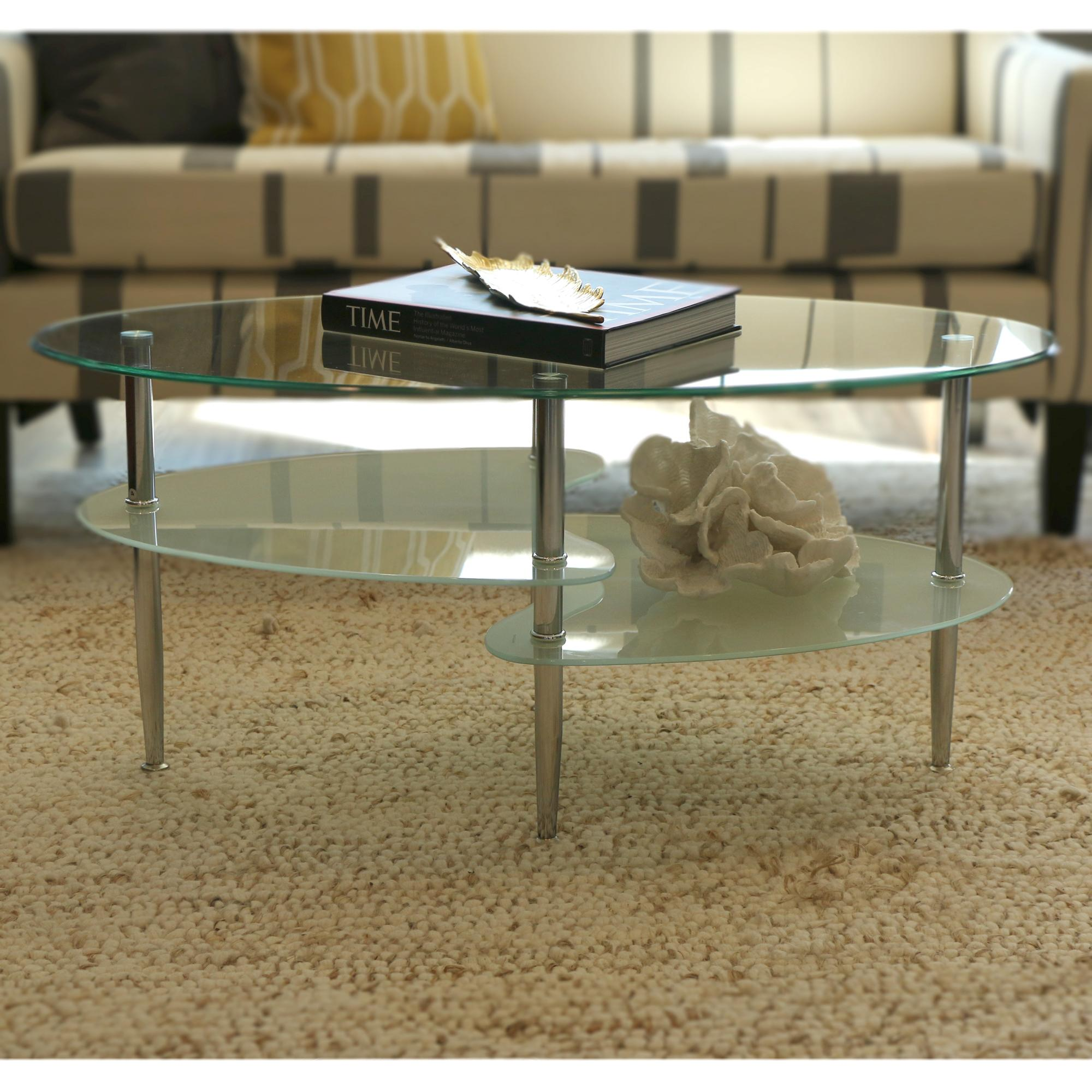 Oval coffee table glass top - View Larger
