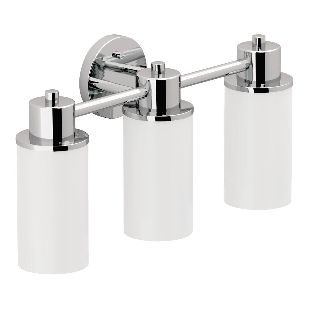 Moen dn0763ch iso 3 globe bath light chrome vanity lighting moen iso bath lighting aloadofball Image collections