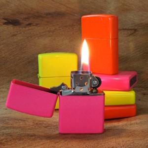neon lighters, neon lighter lit, neon lighters stacked, neon bottom stamps