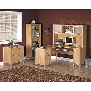 Amazoncom Somerset 71W L Shaped Desk in Maple Cross Kitchen