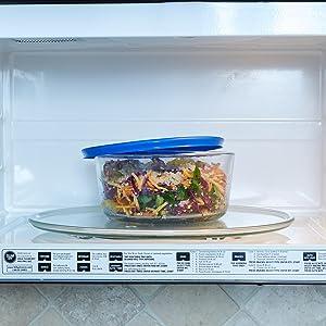 anchor hocking; glass; glassware; food storage; plastic lids; round; blue lids; microwave safe