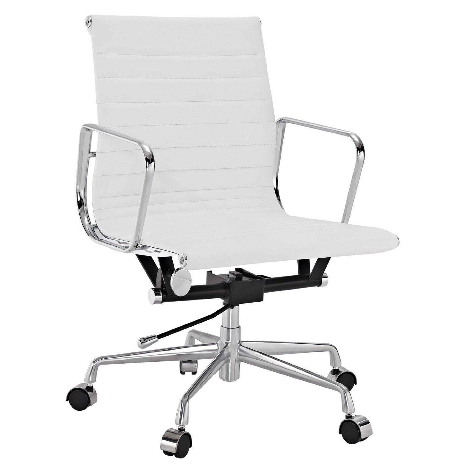 Modern leather office chair -  Office Chair In Genuine Leather In White View Larger