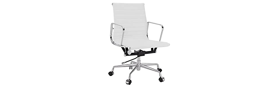 office chair genuine leather white. LexMod Ribbed Mid Back Office Chair In Genuine Leather White I