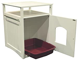 cat washroom, cat litter, pet house, side table, coffee table, white