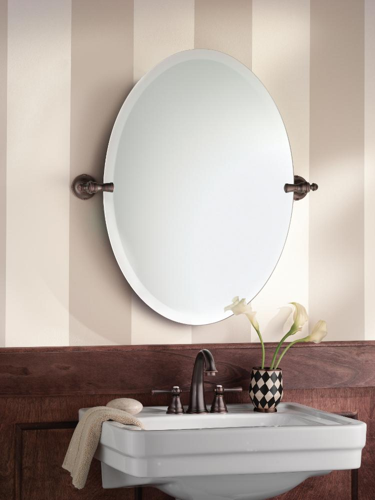 Moen Gilcrest Bathroom Oval Tilting Mirror   Warm Oil Rubbed Bronze Finish