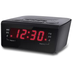 coby cbcr 102 blk digital alarm clock with am fm radio and dual alarm black home. Black Bedroom Furniture Sets. Home Design Ideas