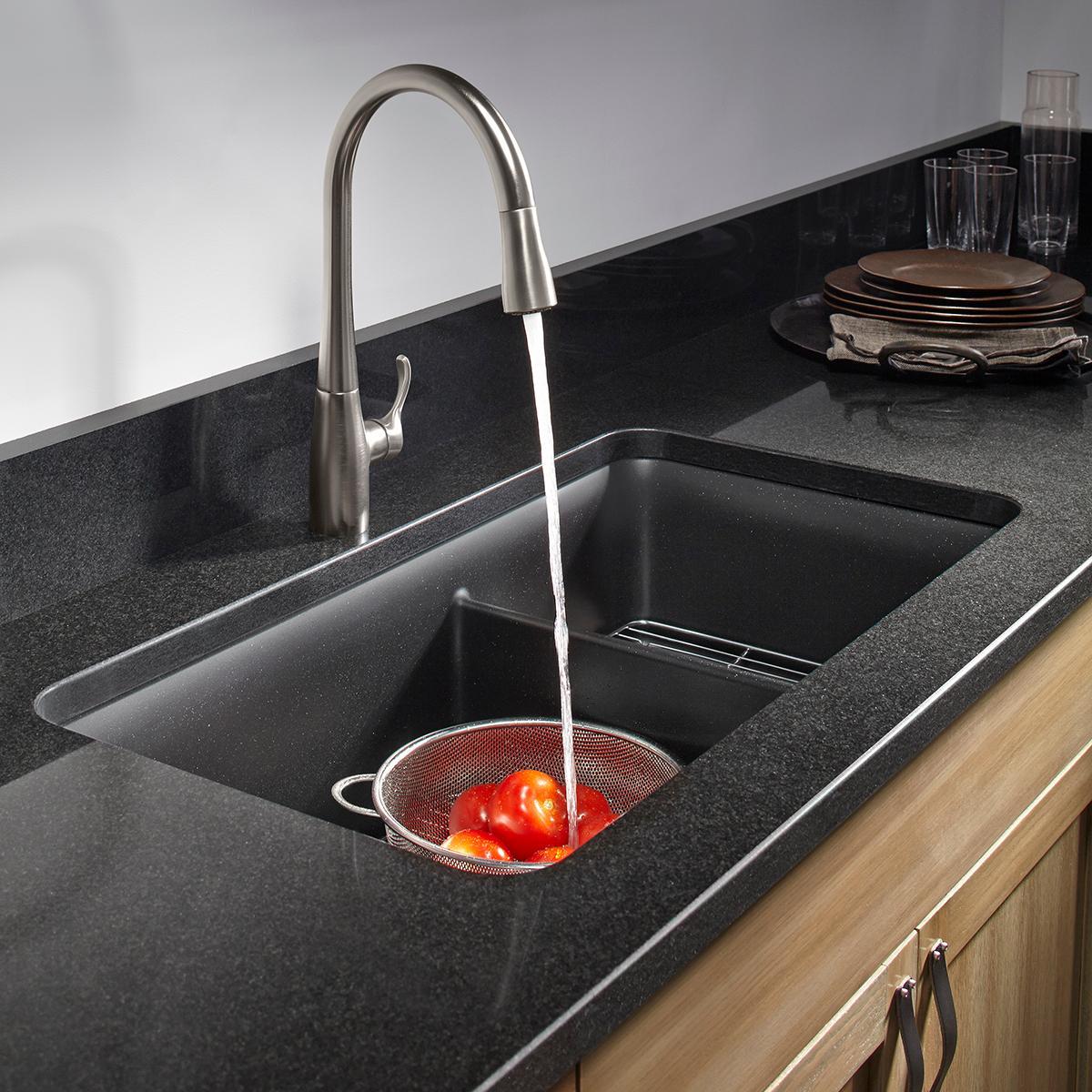 Kitchen Sink Black: Kohler K-8204-CM1 Cairn Undermount Double Bowl Kitchen