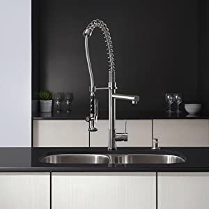kpf1602 commercial style kitchen faucet with pre rinse sprayer - Commercial Kitchen Faucets