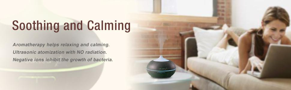Essential Oil Diffuser,Oak Leaf 300ml Wood Grain Aromatherapy, 7 Color,Aroma Humidifier, Cool Mist