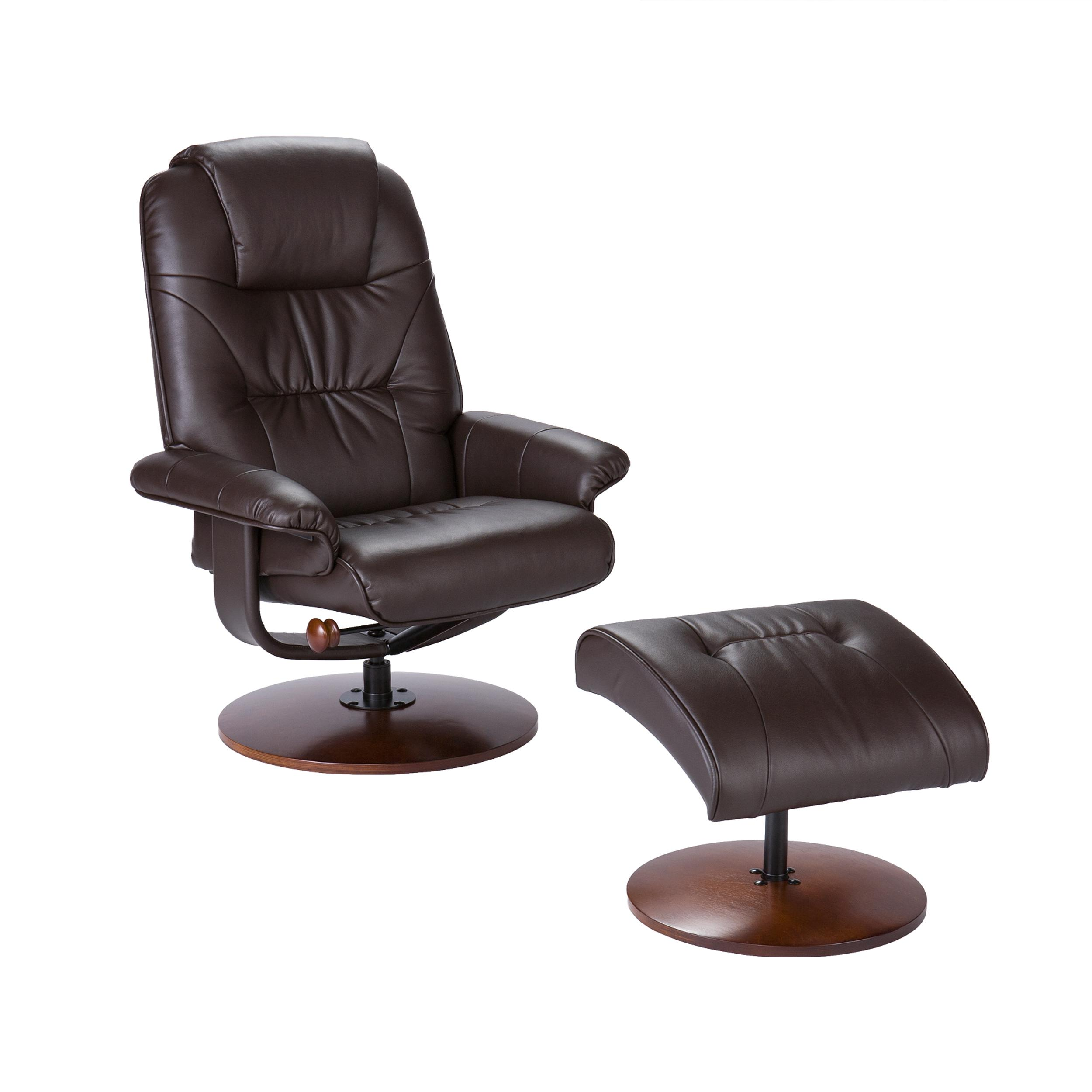 Amazon Com Bonded Leather Recliner And Ottoman Brown