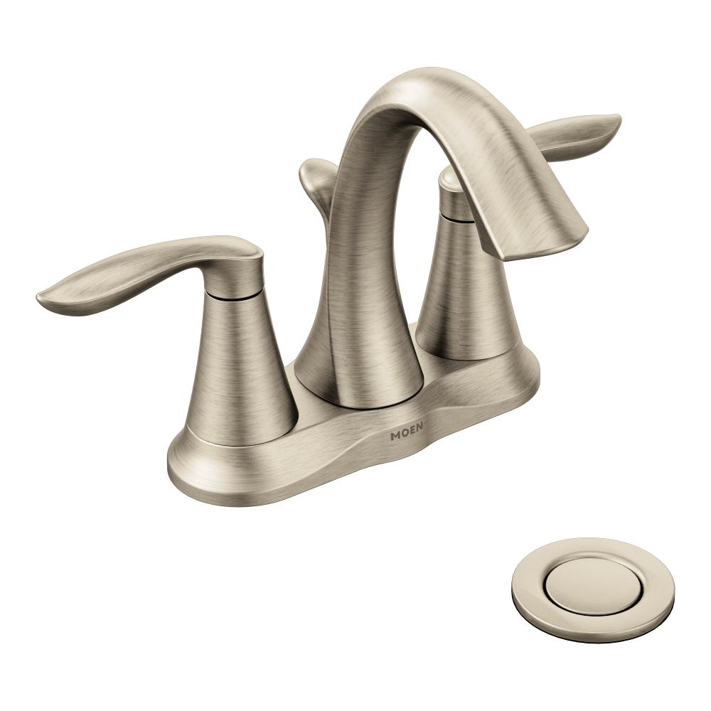 Moen Eva Two Handle Centerset Bathroom Faucet With Drain Assembly Brushed Nickel