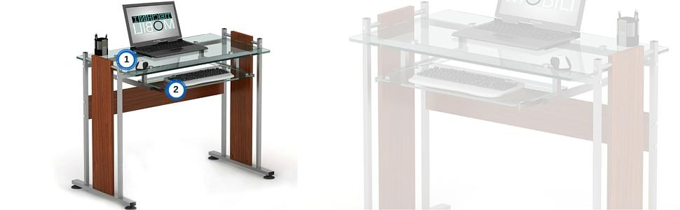 Techni Mobili's Modern and Elegant Glass Top Desk with MDF Panel