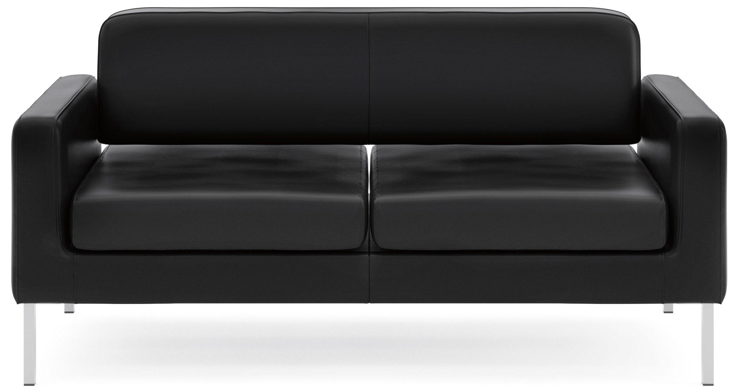 Amazon basyx by HON Leather Sofa Two Cushion Guest Couch