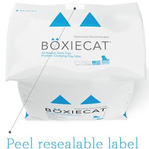 Boxiecat 28 lb packaging resealable label