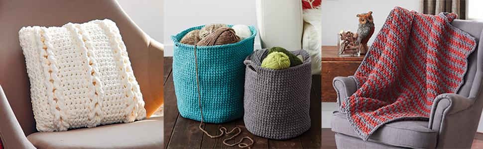 Handmade pillow;handmade yarn buckets;handmade blanket;Bernat yarn;Multiple possibilities
