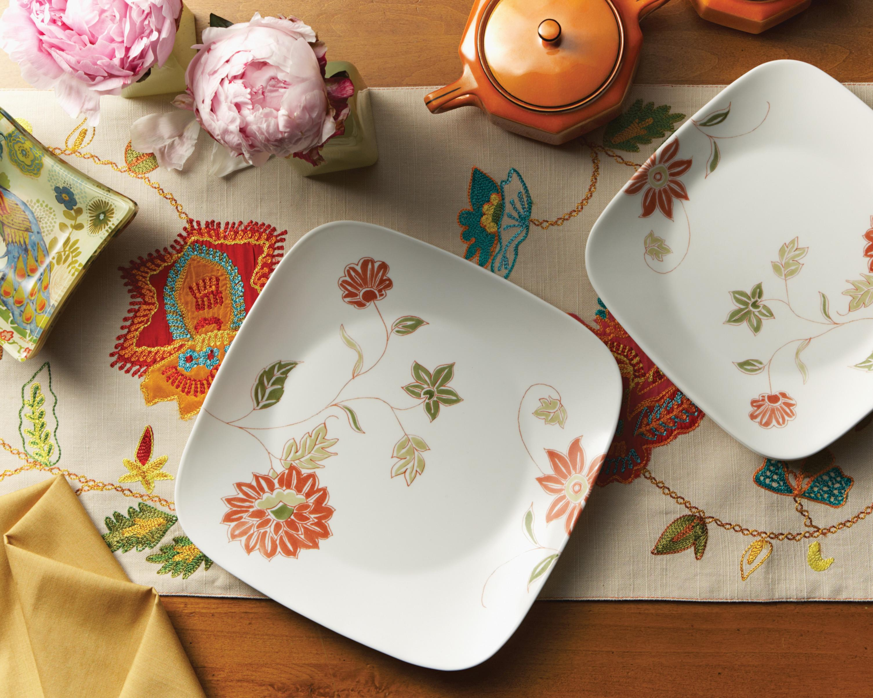 Grapevine Corelle Dishes Patterns & Square Corelle Dinnerware Patterns \u0026 Mikasa® Kya Dinner Plate Square ...
