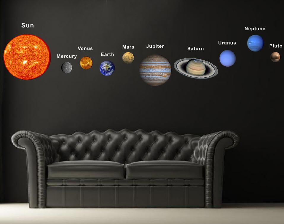 Pop decors fabric wall sticker solar planets for Fabric planets solar system