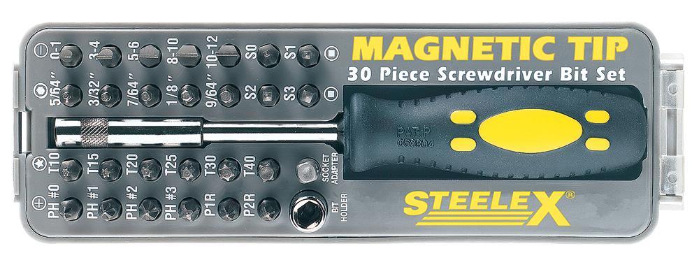 steelex d2032 magnetic tip screwdriver bit set 30 piece home improvement. Black Bedroom Furniture Sets. Home Design Ideas